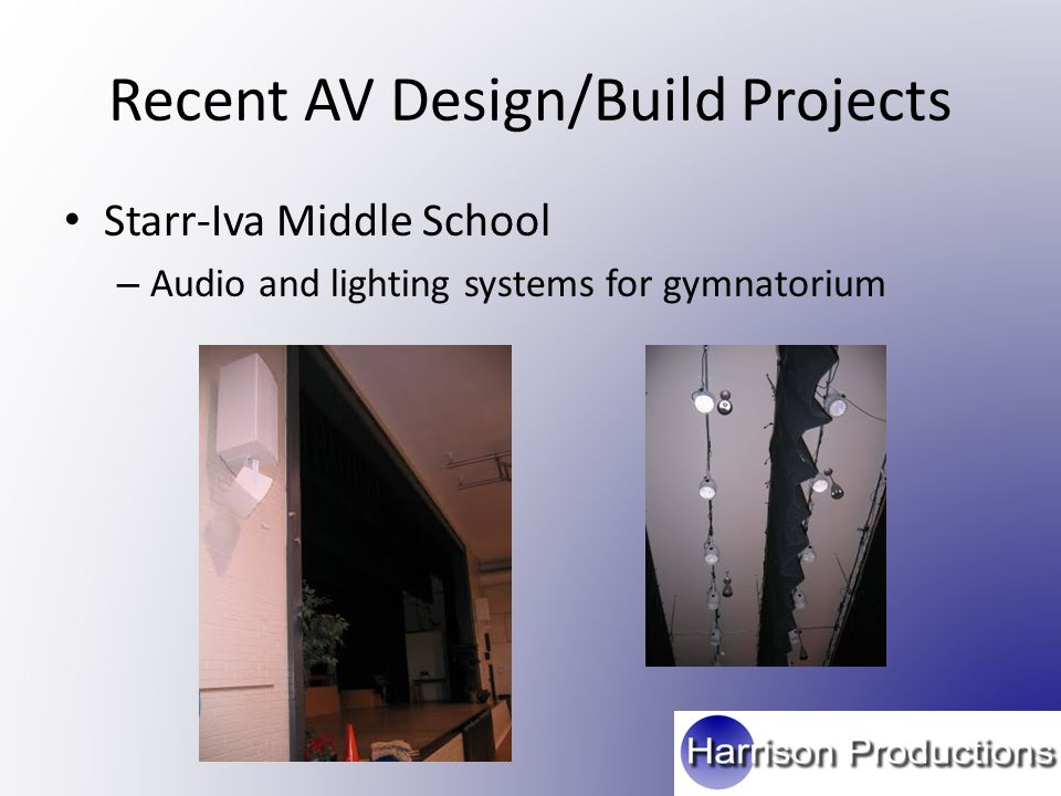 Recent AV Design/Build Projects Starr-Iva Middle School – Audio and lighting systems for gymnatorium