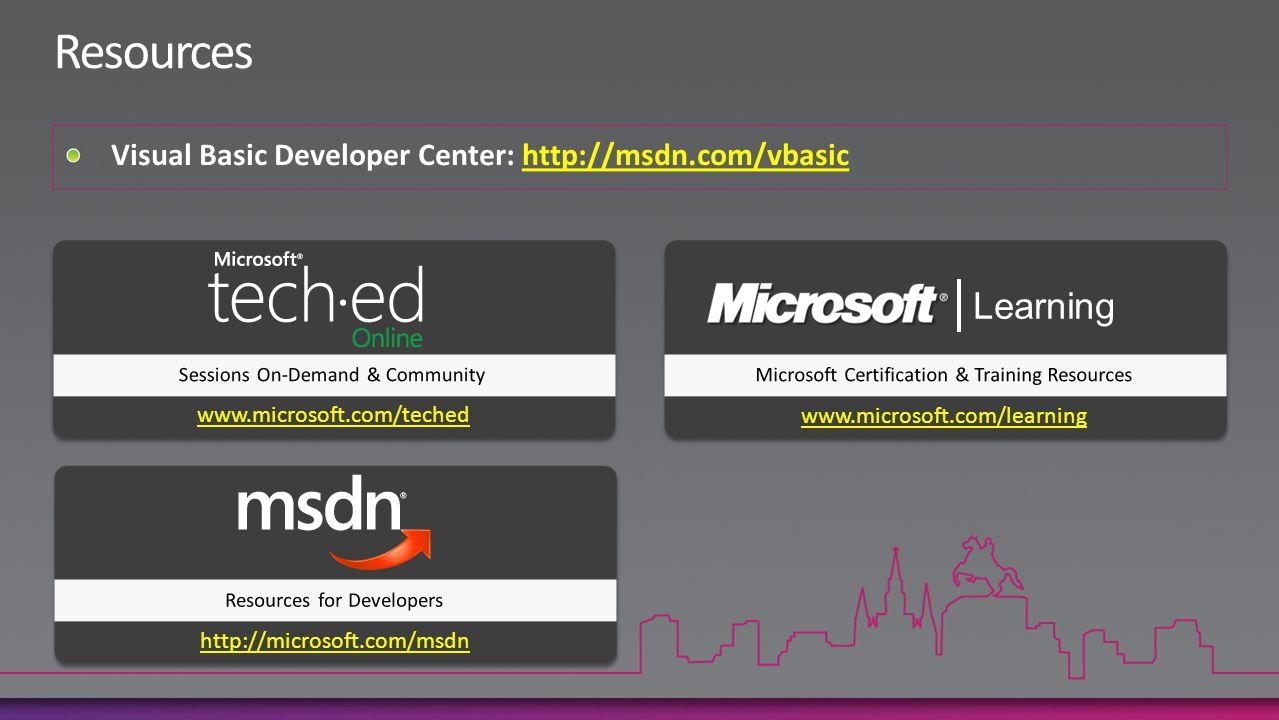 www.microsoft.com/teched www.microsoft.com/learning http://microsoft.com/msdn