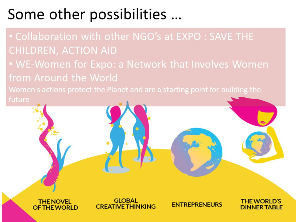 Collaboration with other NGO's at EXPO : SAVE THE CHILDREN, ACTION AID WE-Women for Expo: a Network that Involves Women from Around the World Women's