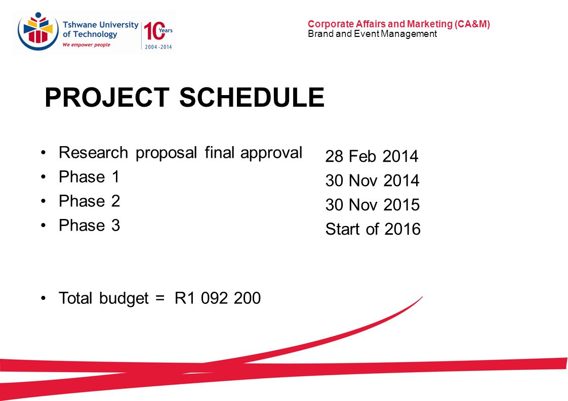 Corporate Affairs and Marketing (CA&M) Brand and Event Management PROJECT SCHEDULE Research proposal final approval Phase 1 Phase 2 Phase 3 Total budget = R1 092 200 28 Feb 2014 30 Nov 2014 30 Nov 2015 Start of 2016
