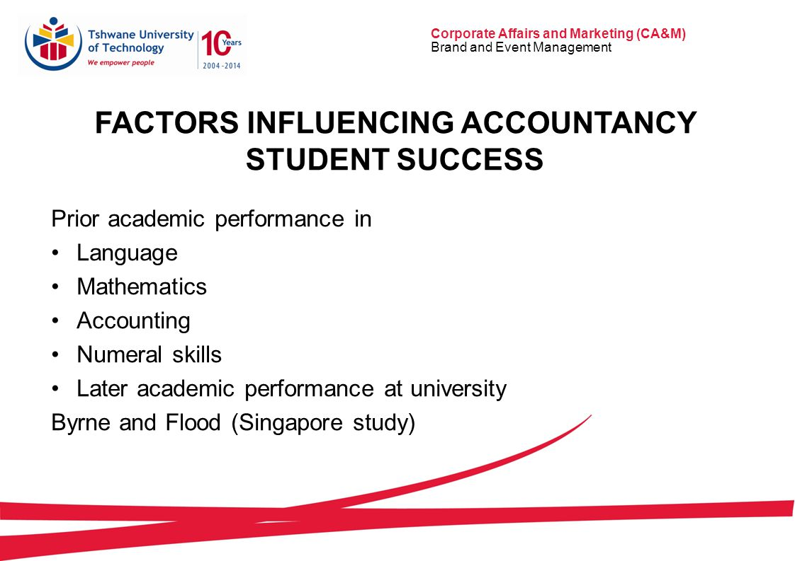 Corporate Affairs and Marketing (CA&M) Brand and Event Management FACTORS INFLUENCING ACCOUNTANCY STUDENT SUCCESS Prior academic performance in Language Mathematics Accounting Numeral skills Later academic performance at university Byrne and Flood (Singapore study)