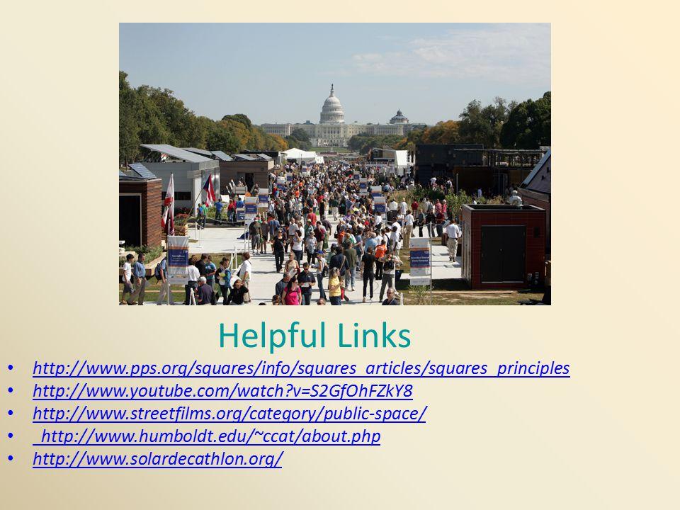 Helpful Links http://www.pps.org/squares/info/squares_articles/squares_principles http://www.youtube.com/watch?v=S2GfOhFZkY8 http://www.streetfilms.or