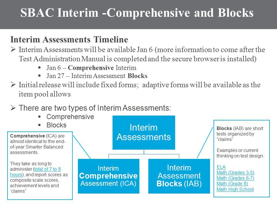 Interim Comprehensive Assessments (ICAs) Interim Comprehensive Assessments (ICAs) use the same blueprints as the summative assessments and assess the same standards.