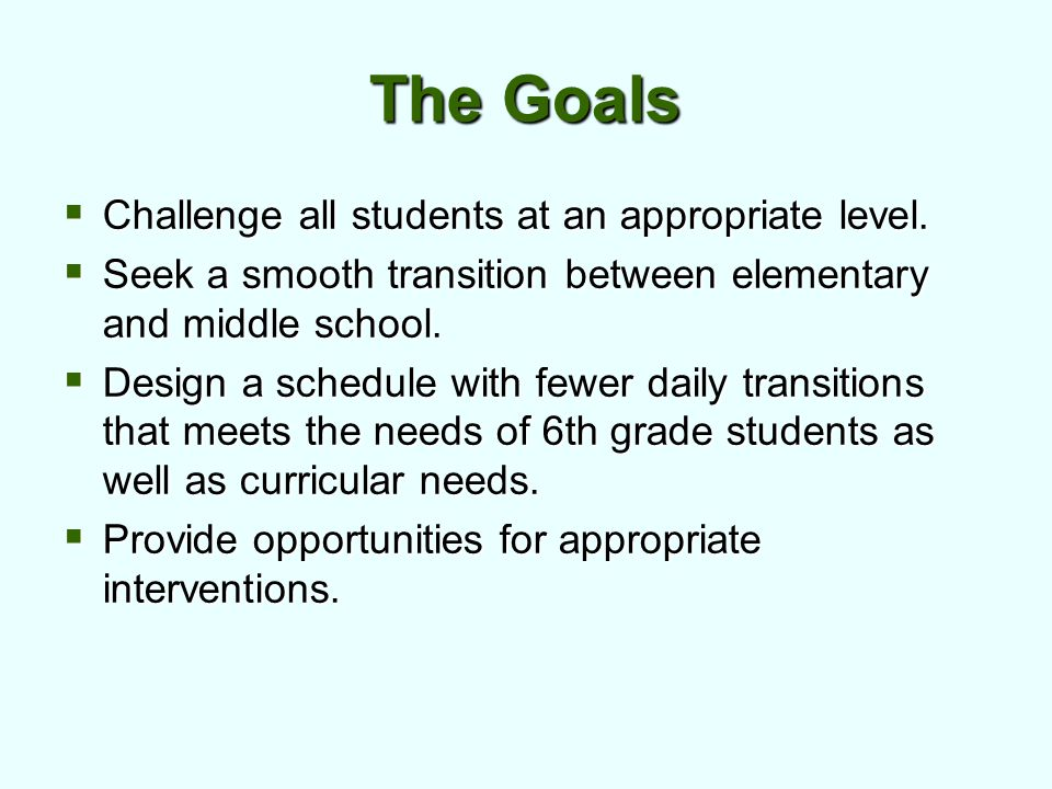 The Goals  Challenge all students at an appropriate level.