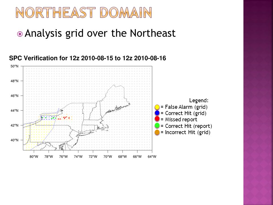  Analysis grid over the Northeast Legend: = False Alarm (grid) = Correct Hit (grid) = Missed report = Correct Hit (report) = Incorrect Hit (grid)