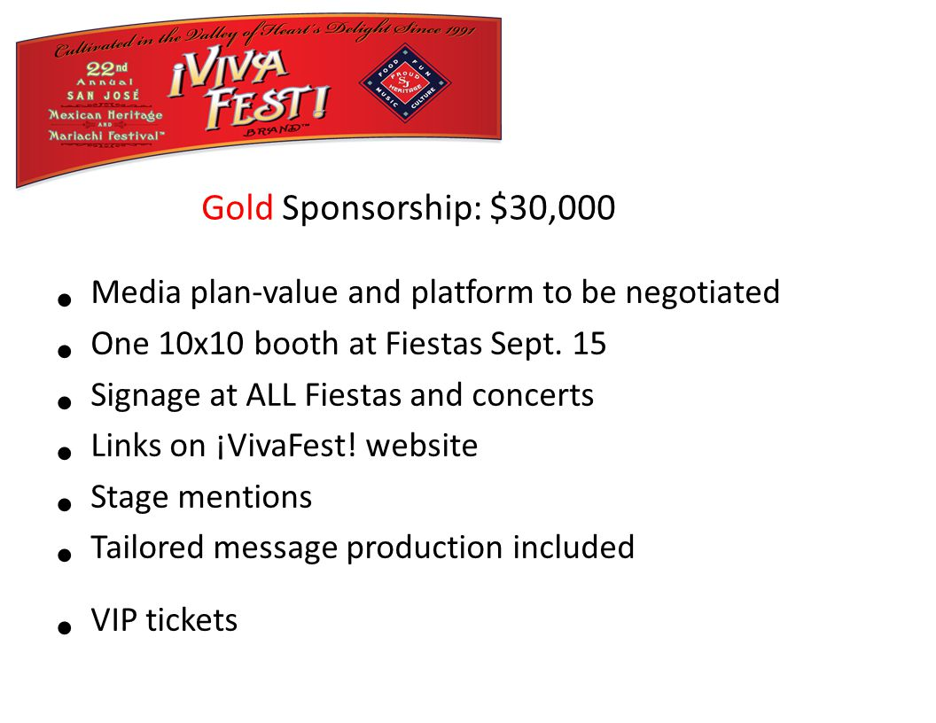 Media plan-value and platform to be negotiated One 10x10 booth at Fiestas Sept.