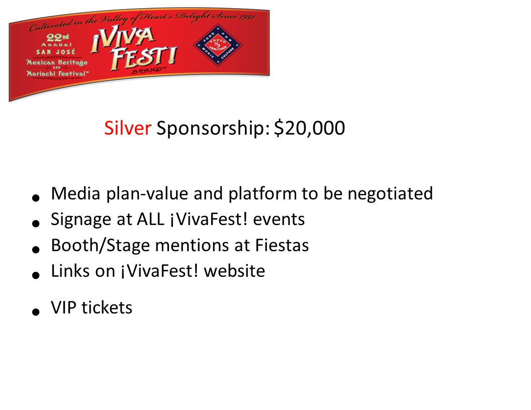 Media plan-value and platform to be negotiated Signage at ALL ¡VivaFest.