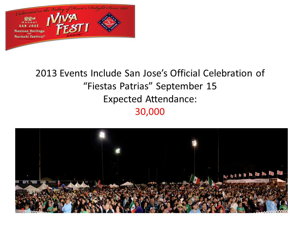 2013 Events Include San Jose's Official Celebration of Fiestas Patrias September 15 Expected Attendance: 30,000