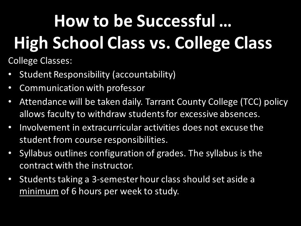 How to be Successful … High School Class vs.