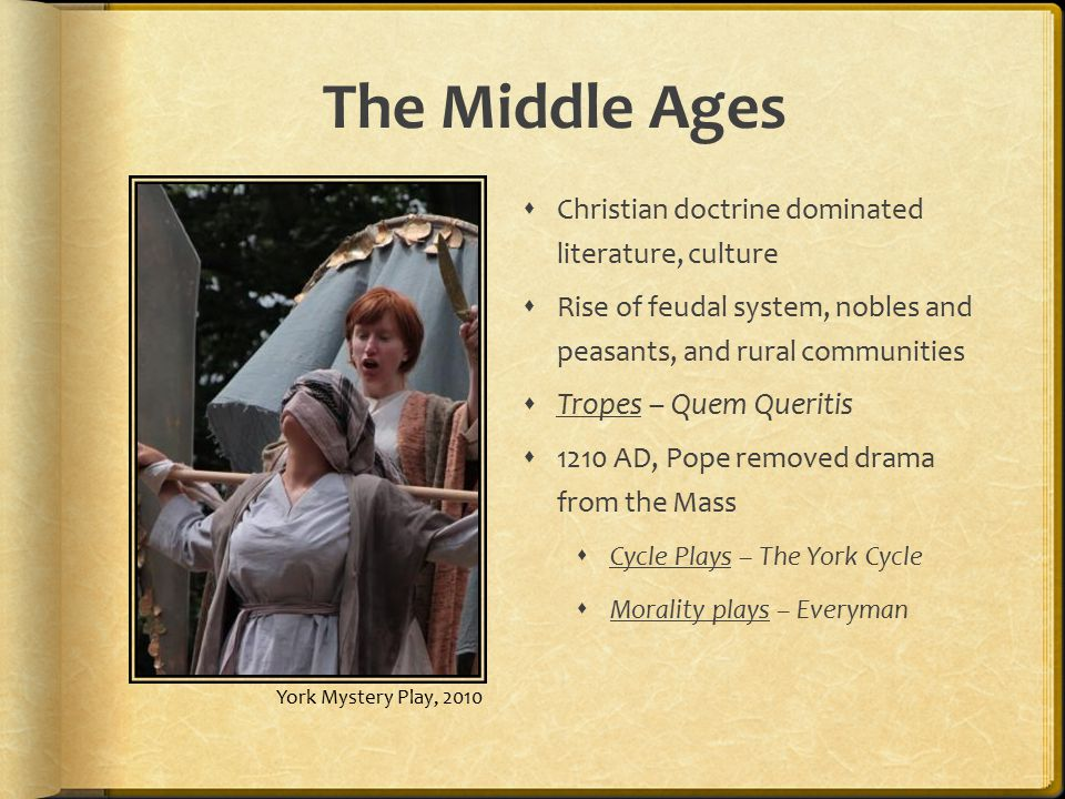 The Middle Ages  Christian doctrine dominated literature, culture  Rise of feudal system, nobles and peasants, and rural communities  Tropes – Quem Queritis  1210 AD, Pope removed drama from the Mass  Cycle Plays – The York Cycle  Morality plays – Everyman York Mystery Play, 2010