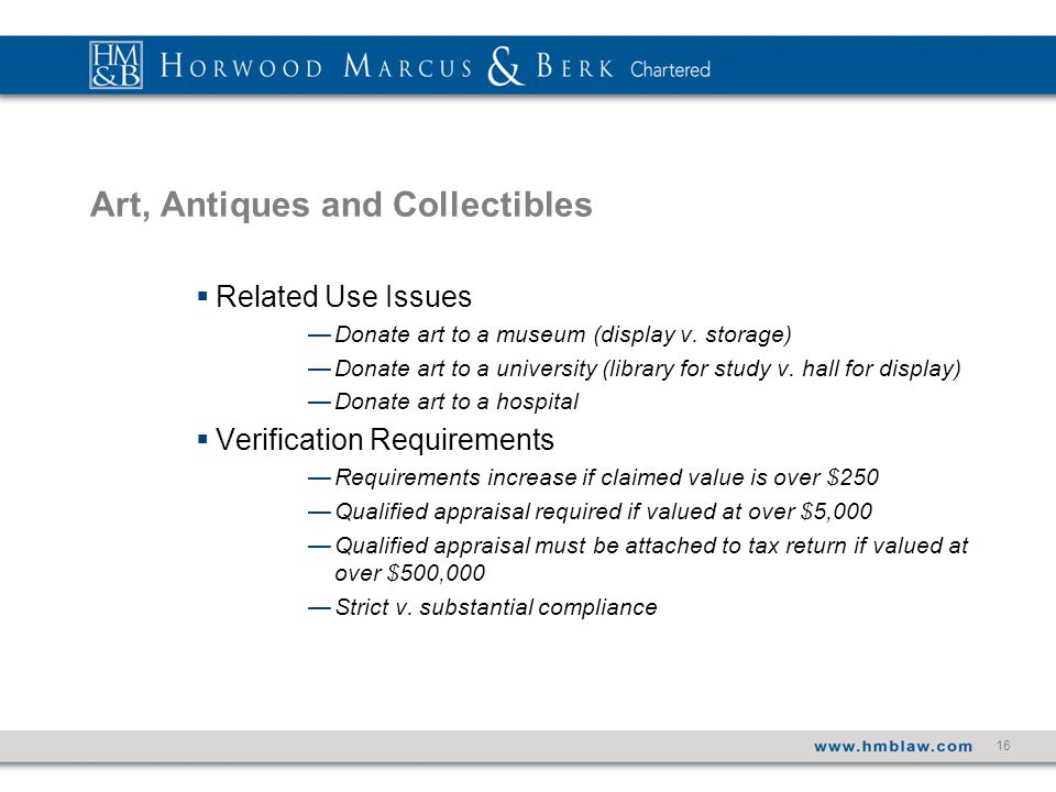 16 Art, Antiques and Collectibles  Related Use Issues —Donate art to a museum (display v.