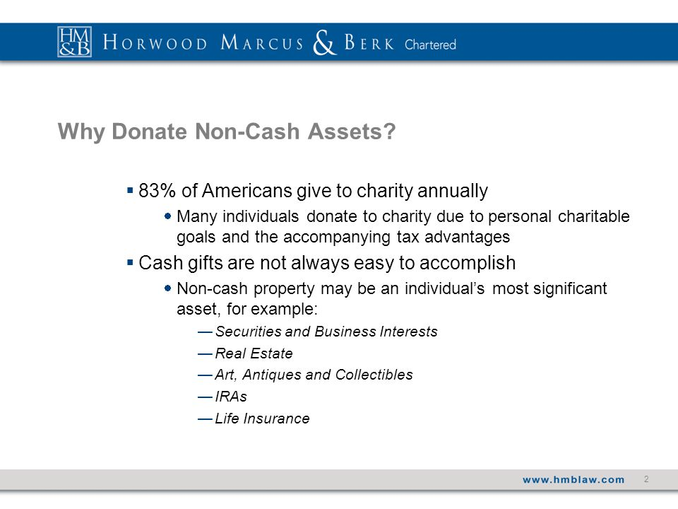 2 Why Donate Non-Cash Assets.