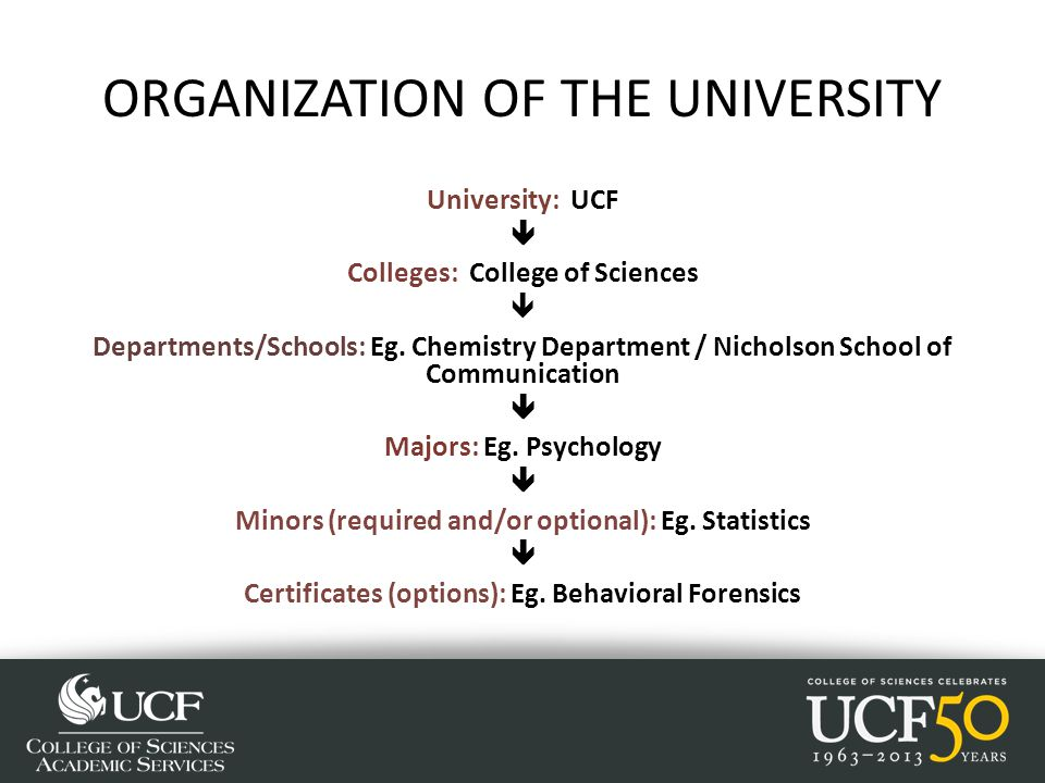 ORGANIZATION OF THE UNIVERSITY University: UCF  Colleges: College of Sciences  Departments/Schools: Eg.