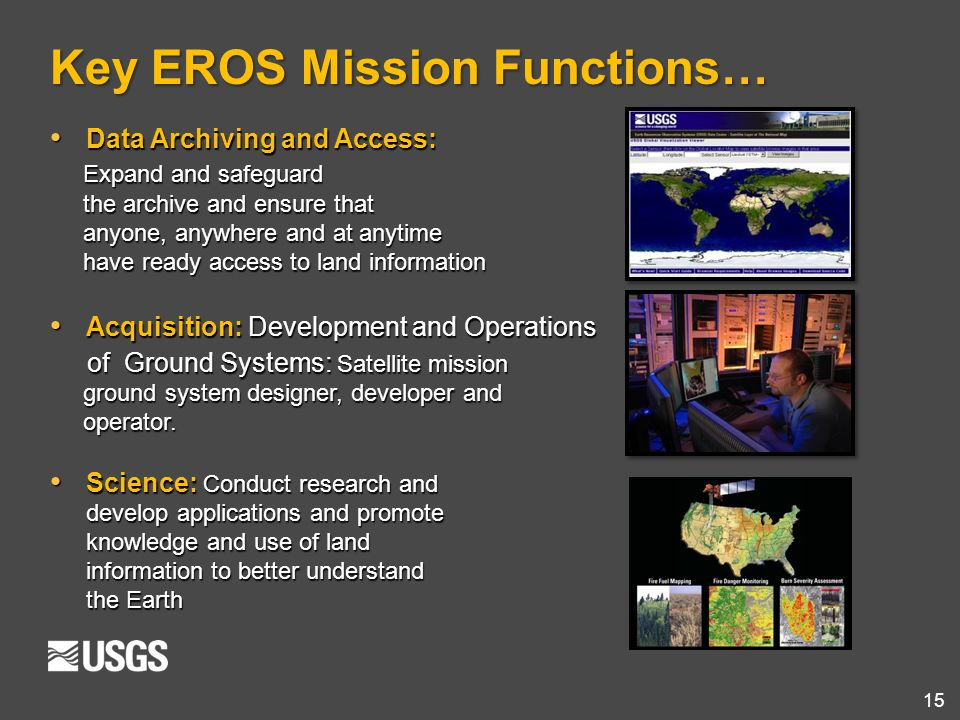 15 Key EROS Mission Functions… Data Archiving and Access: Data Archiving and Access: Expand and safeguard Expand and safeguard the archive and ensure