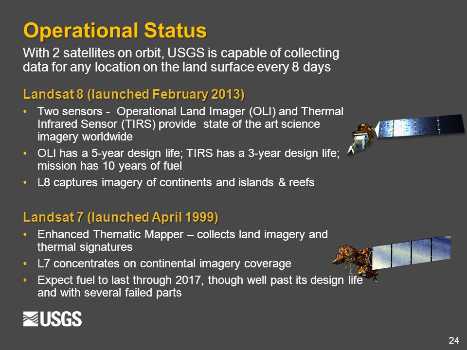 24 Operational Status With 2 satellites on orbit, USGS is capable of collecting data for any location on the land surface every 8 days Landsat 8 (laun
