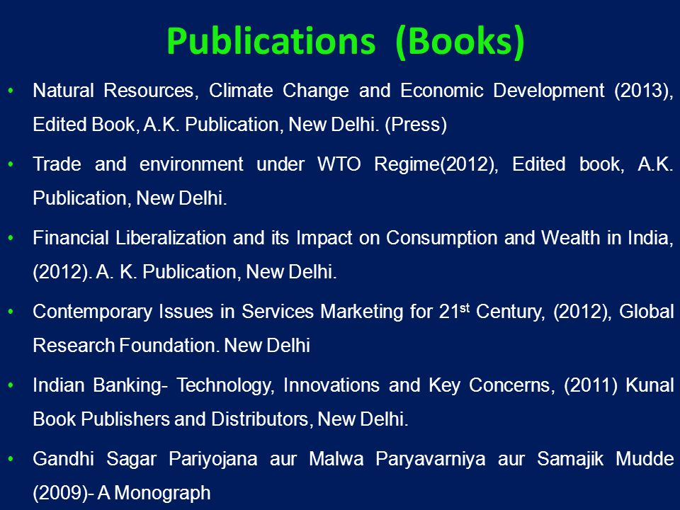 Natural Resources, Climate Change and Economic Development (2013), Edited Book, A.K.