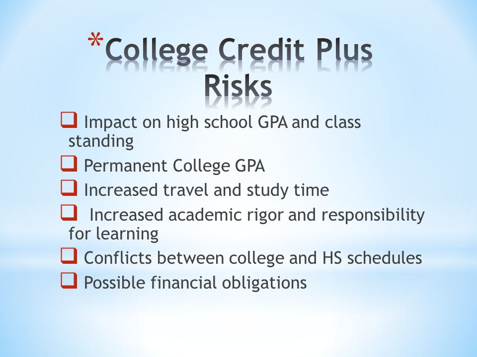  Impact on high school GPA and class standing  Permanent College GPA  Increased travel and study time  Increased academic rigor and responsibility for learning  Conflicts between college and HS schedules  Possible financial obligations
