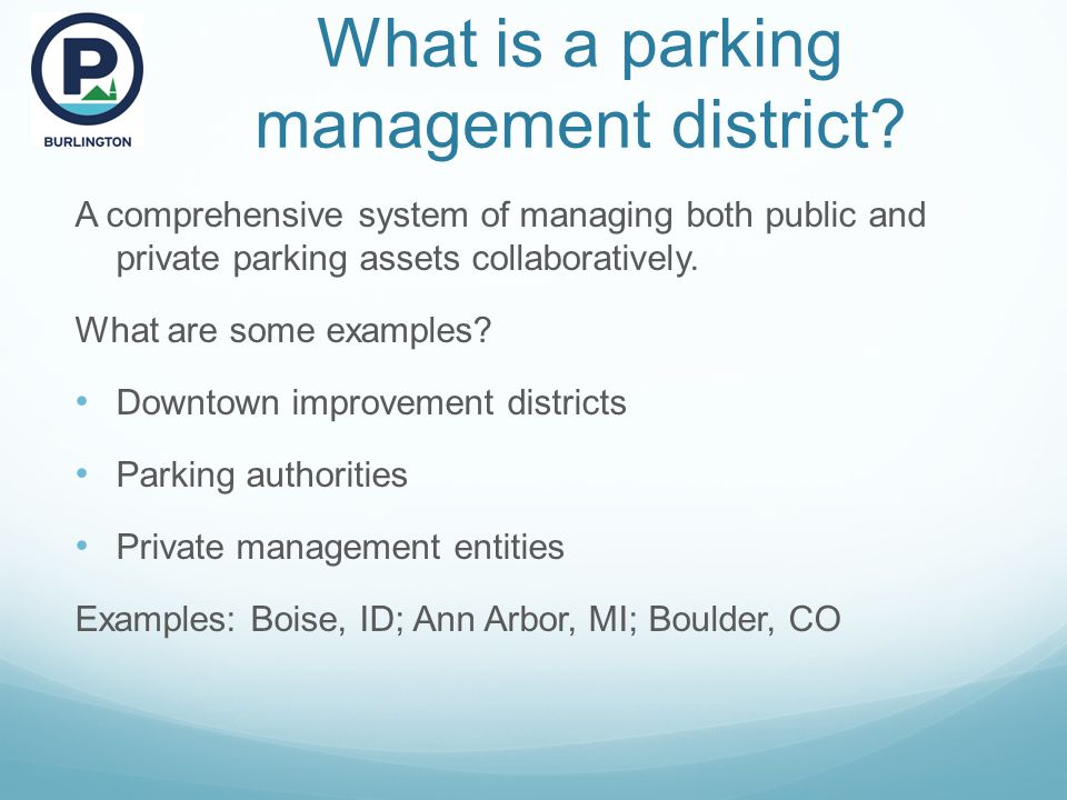 What is a parking management district.