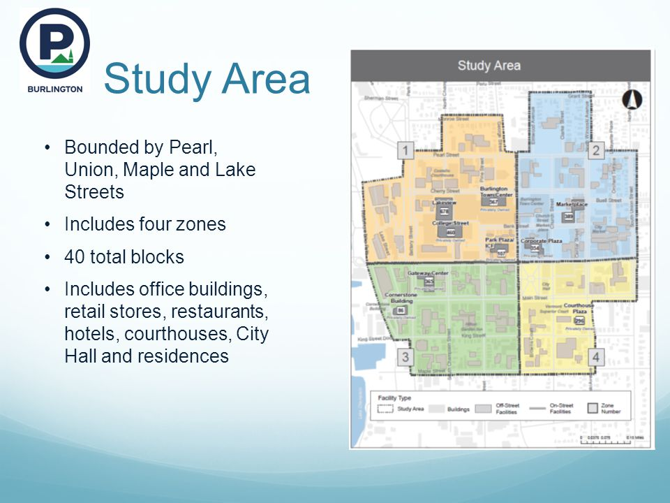 Study Area Bounded by Pearl, Union, Maple and Lake Streets Includes four zones 40 total blocks Includes office buildings, retail stores, restaurants, hotels, courthouses, City Hall and residences