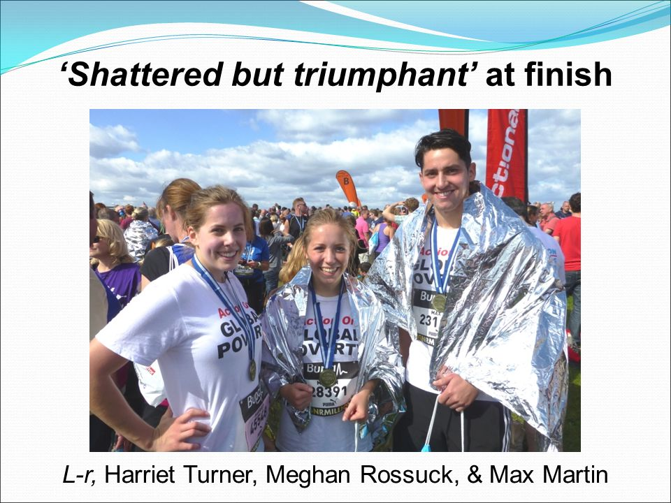 'Shattered but triumphant' at finish L-r, Harriet Turner, Meghan Rossuck, & Max Martin