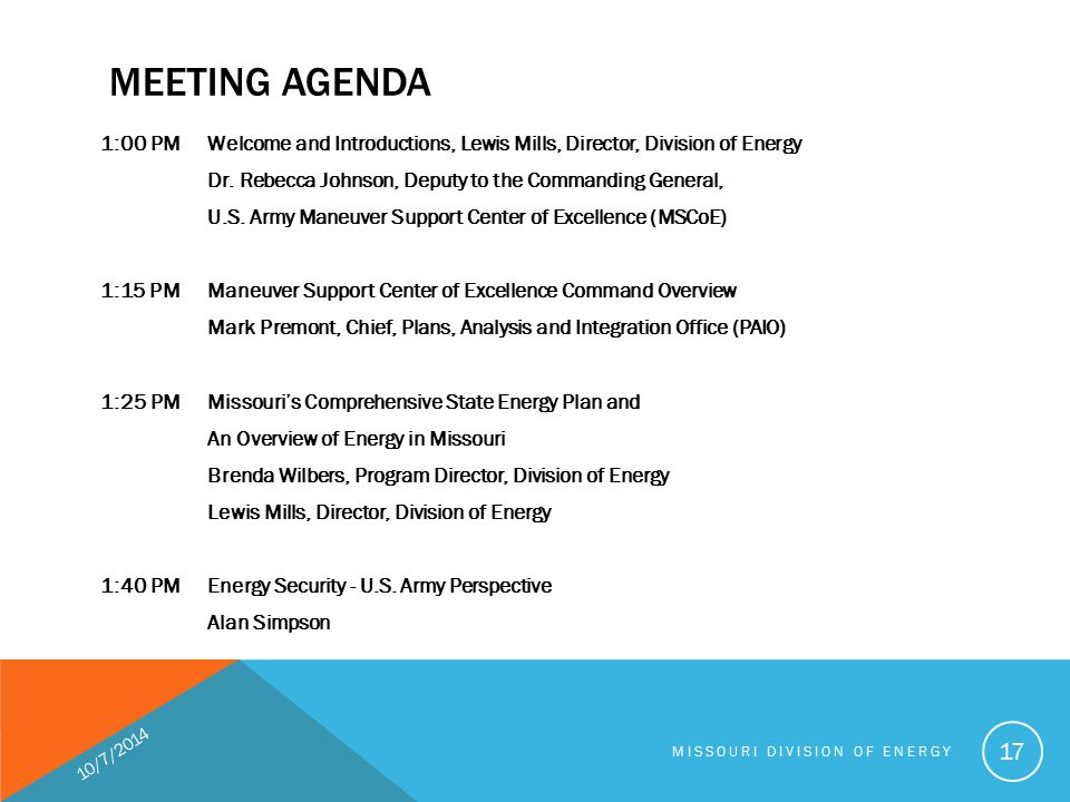 MEETING AGENDA 1:00 PMWelcome and Introductions, Lewis Mills, Director, Division of Energy Dr.