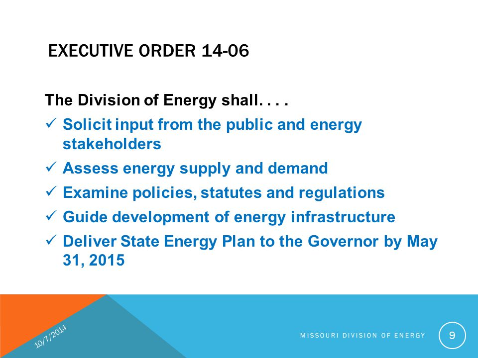 EXECUTIVE ORDER 14-06 The Division of Energy shall....