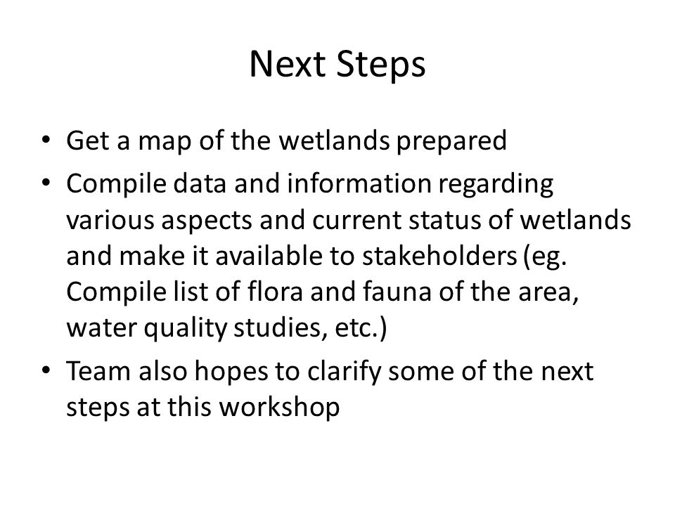 Next Steps Get a map of the wetlands prepared Compile data and information regarding various aspects and current status of wetlands and make it availa