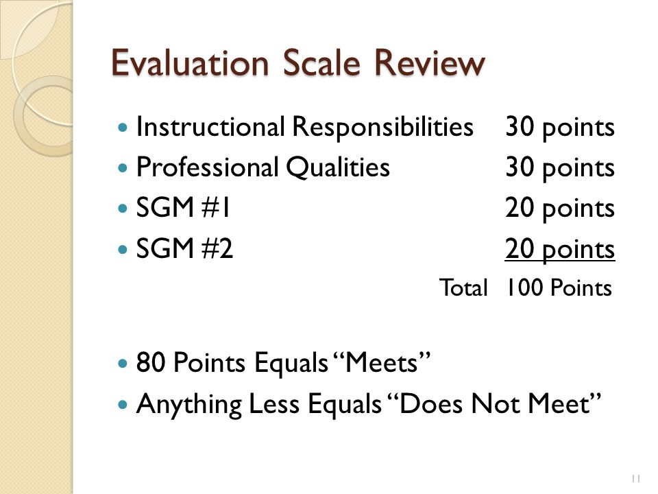 Evaluation Scale Review Instructional Responsibilities30 points Professional Qualities30 points SGM #120 points SGM #220 points Total100 Points 80 Points Equals Meets Anything Less Equals Does Not Meet 11