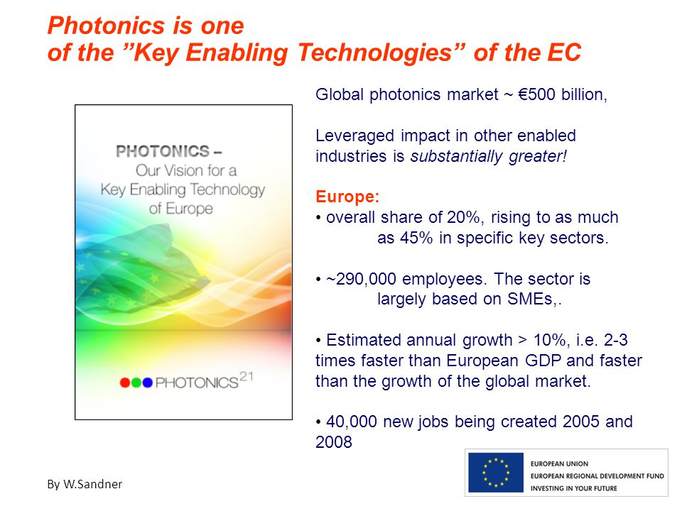 Global photonics market ~ €500 billion, Leveraged impact in other enabled industries is substantially greater.