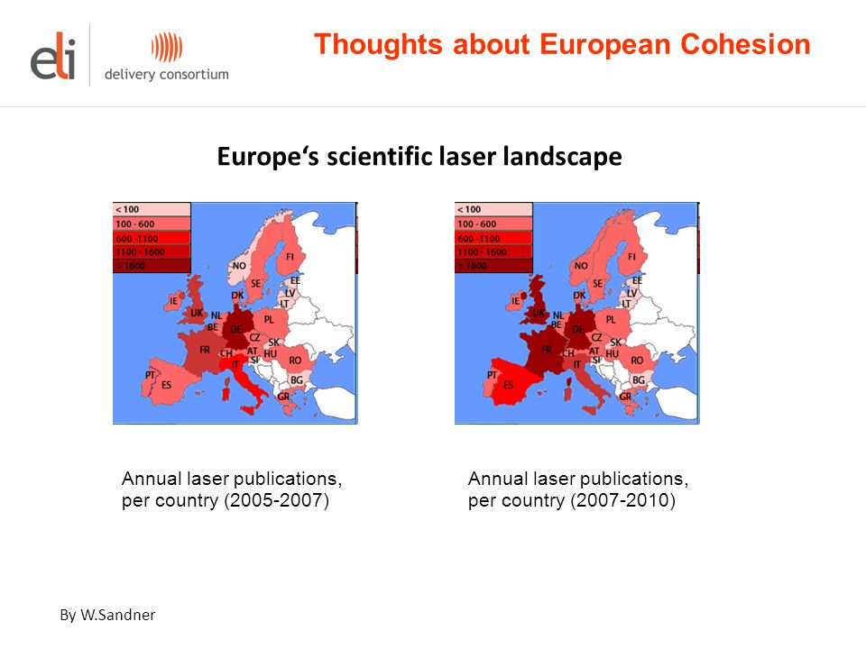 Annual laser publications, per country (2005-2007) Annual laser publications, per country (2007-2010) Thoughts about European Cohesion Europe's scientific laser landscape By W.Sandner