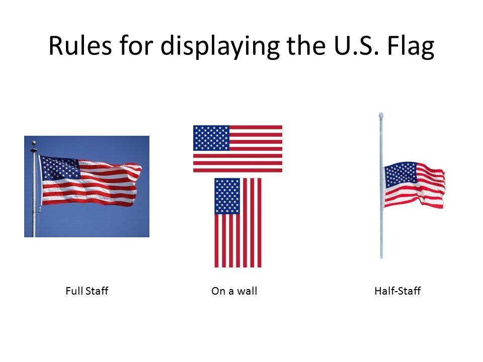 Rules for displaying the U.S. Flag Full StaffHalf-StaffOn a wall