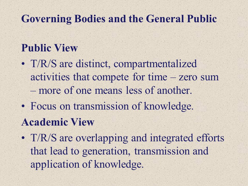 Governing Bodies and the General Public Public View T/R/S are distinct, compartmentalized activities that compete for time – zero sum – more of one me