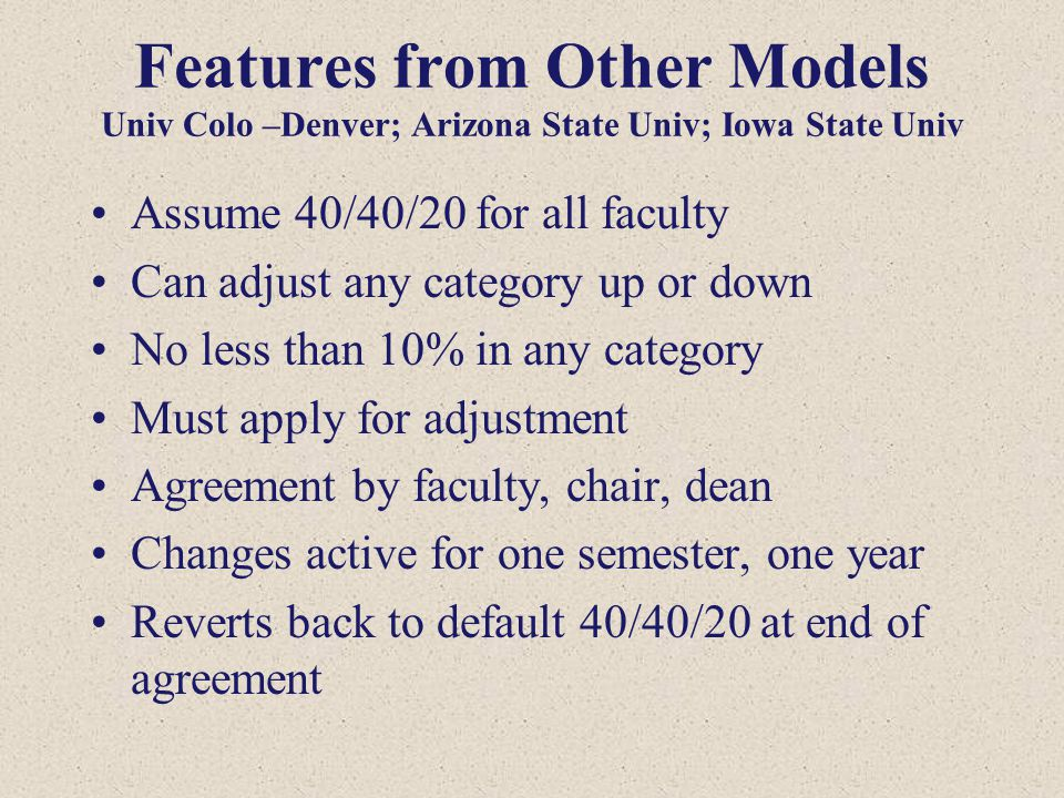 Features from Other Models Univ Colo –Denver; Arizona State Univ; Iowa State Univ Assume 40/40/20 for all faculty Can adjust any category up or down N