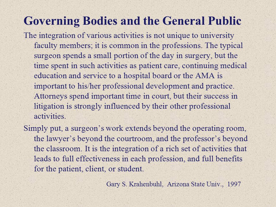 Governing Bodies and the General Public The integration of various activities is not unique to university faculty members; it is common in the profess