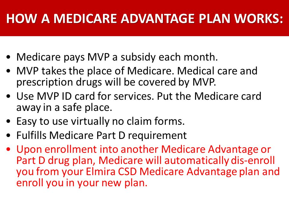 Medicare pays MVP a subsidy each month. MVP takes the place of Medicare. Medical care and prescription drugs will be covered by MVP. Use MVP ID card f