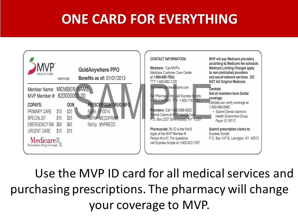 ONE CARD FOR EVERYTHING Use the MVP ID card for all medical services and purchasing prescriptions. The pharmacy will change your coverage to MVP.