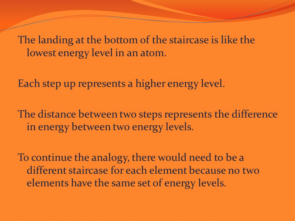 The landing at the bottom of the staircase is like the lowest energy level in an atom. Each step up represents a higher energy level. The distance bet