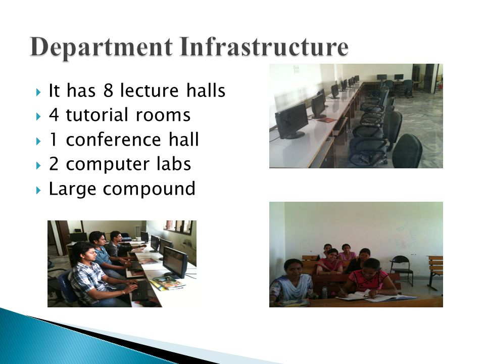  It has 8 lecture halls  4 tutorial rooms  1 conference hall  2 computer labs  Large compound
