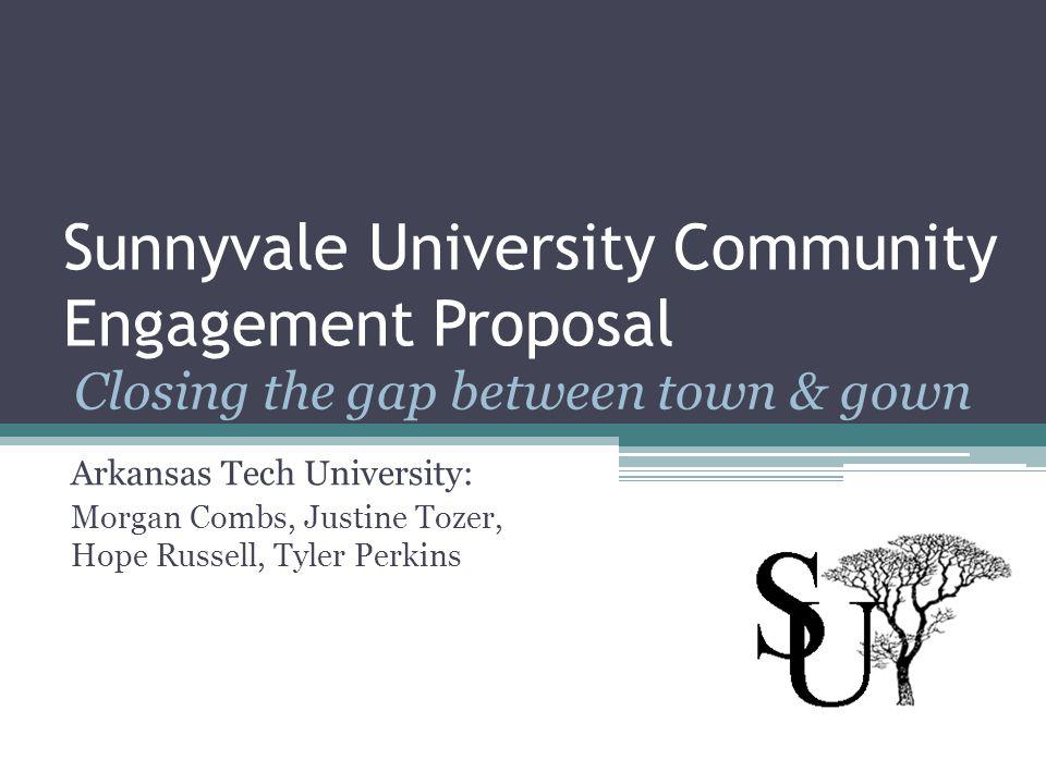 Sunnyvale University Community Engagement Proposal Arkansas Tech University: Morgan Combs, Justine Tozer, Hope Russell, Tyler Perkins Closing the gap