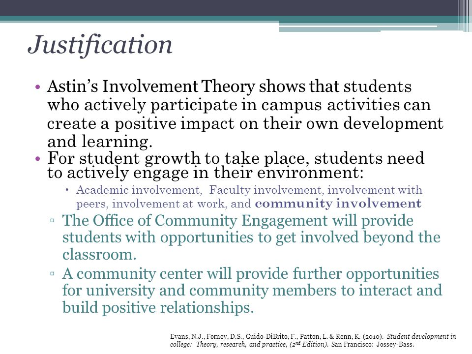 Justification Astin's Involvement Theory shows that s tudents who actively participate in campus activities can create a positive impact on their own