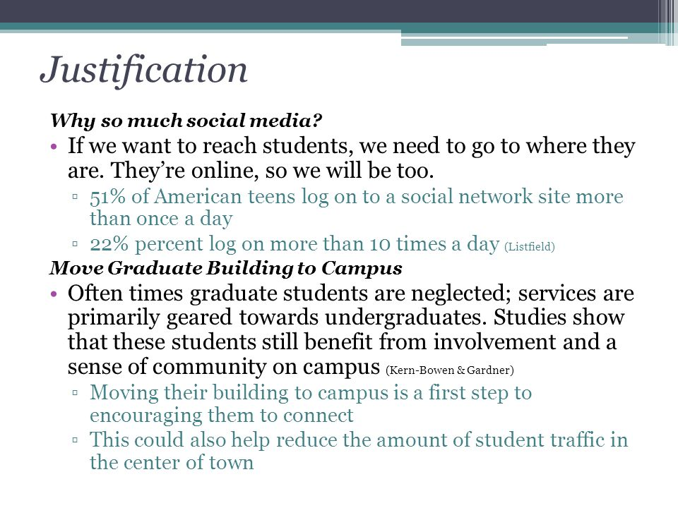 Justification Why so much social media? If we want to reach students, we need to go to where they are. They're online, so we will be too. ▫51% of Amer
