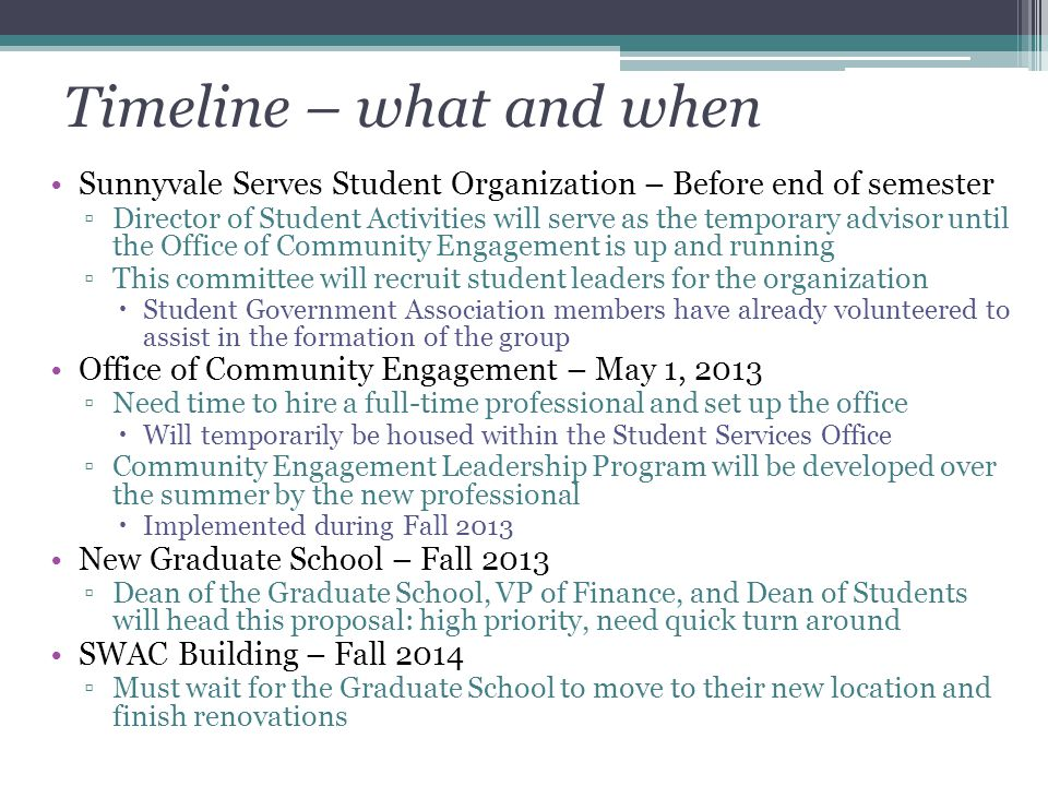 Timeline – what and when Sunnyvale Serves Student Organization – Before end of semester ▫Director of Student Activities will serve as the temporary ad