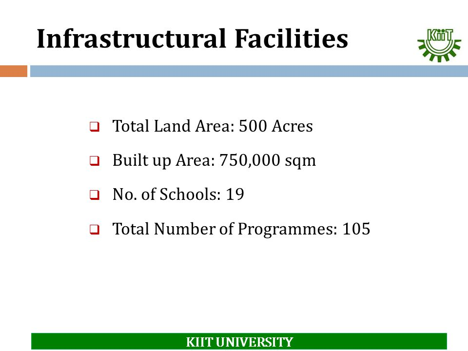 Infrastructural Facilities  Total Land Area: 500 Acres  Built up Area: 750,000 sqm  No. of Schools: 19  Total Number of Programmes: 105 KIIT UNIVE