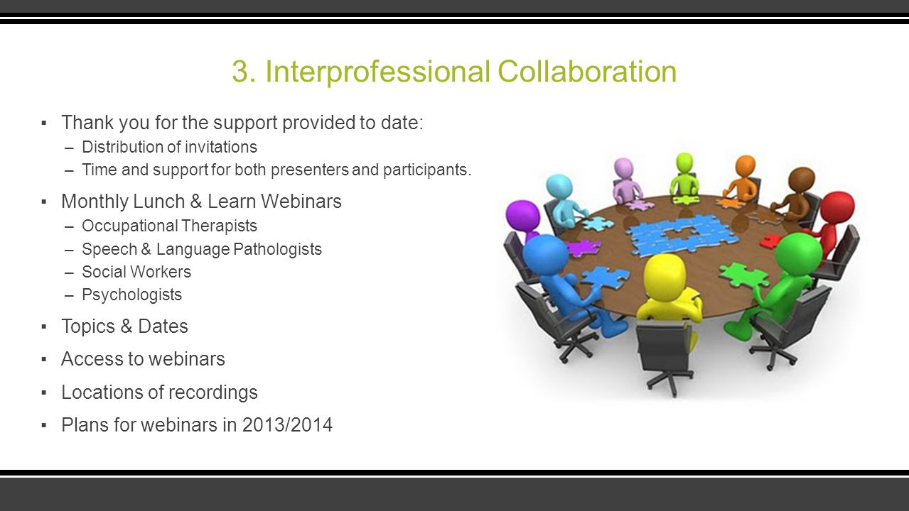 3. Interprofessional Collaboration ▪Thank you for the support provided to date: –Distribution of invitations –Time and support for both presenters and
