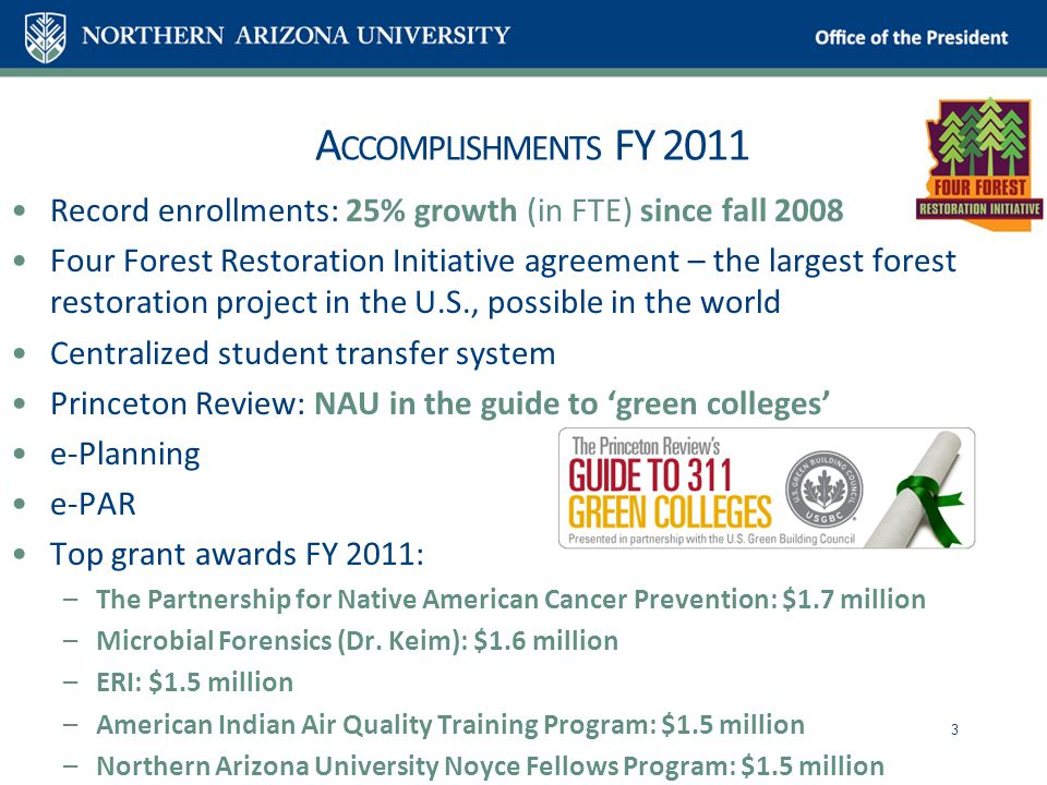 A CCOMPLISHMENTS FY 2011 Record enrollments: 25% growth (in FTE) since fall 2008 Four Forest Restoration Initiative agreement – the largest forest restoration project in the U.S., possible in the world Centralized student transfer system Princeton Review: NAU in the guide to 'green colleges' e-Planning e-PAR Top grant awards FY 2011: –The Partnership for Native American Cancer Prevention: $1.7 million –Microbial Forensics (Dr.