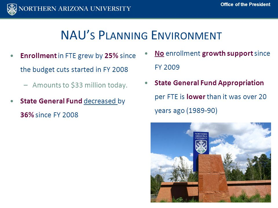 NAU' S P LANNING E NVIRONMENT Enrollment in FTE grew by 25% since the budget cuts started in FY 2008 –Amounts to $33 million today.
