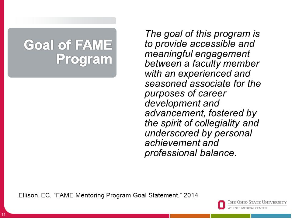 11 The goal of this program is to provide accessible and meaningful engagement between a faculty member with an experienced and seasoned associate for