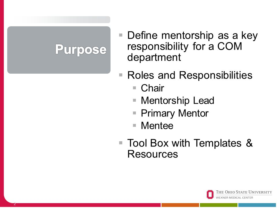  Define mentorship as a key responsibility for a COM department  Roles and Responsibilities  Chair  Mentorship Lead  Primary Mentor  Mentee  To