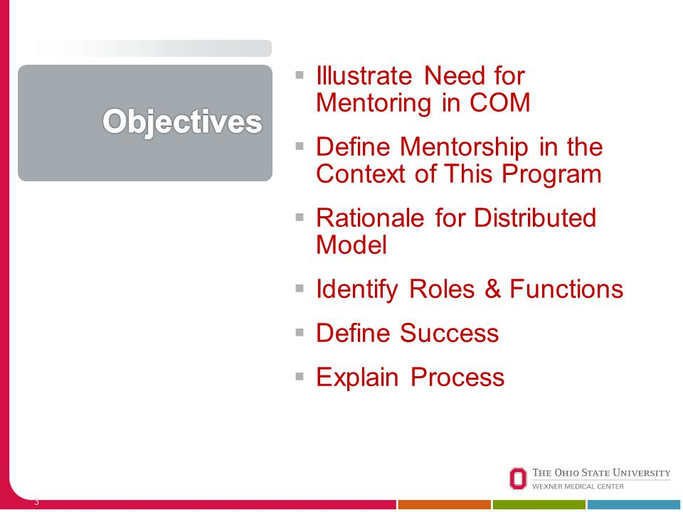  Illustrate Need for Mentoring in COM  Define Mentorship in the Context of This Program  Rationale for Distributed Model  Identify Roles & Functio