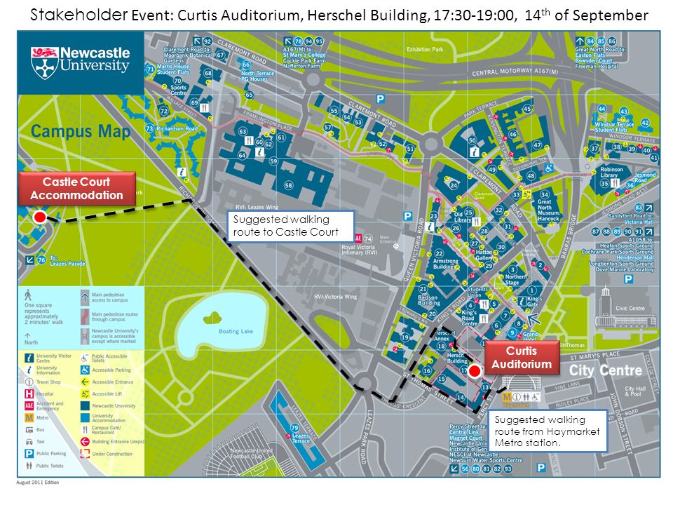 Castle Court Accommodation Castle Court Accommodation Curtis Auditorium Curtis Auditorium Suggested walking route to Castle Court Suggested walking ro